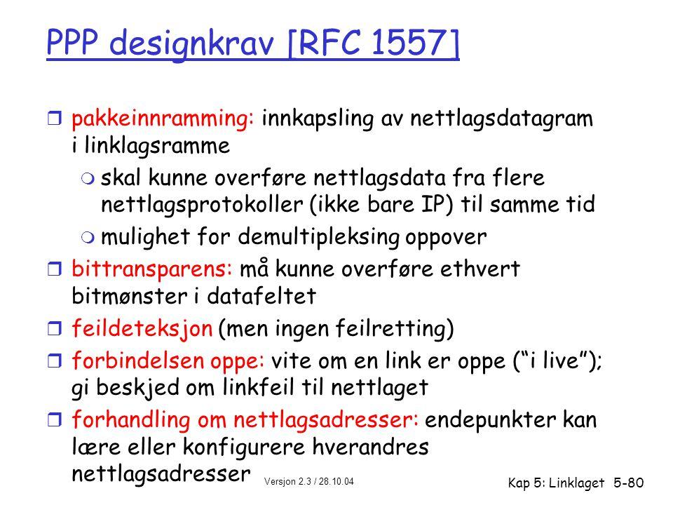PPP designkrav [RFC 1557] pakkeinnramming: innkapsling av nettlagsdatagram i linklagsramme.